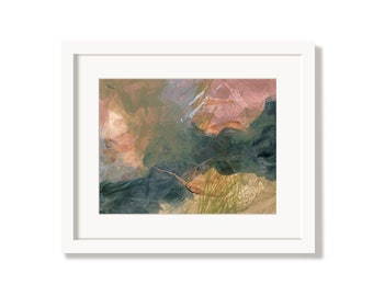 Earthy Organic Pink and Blue Art Print from an Original Abstract Painting