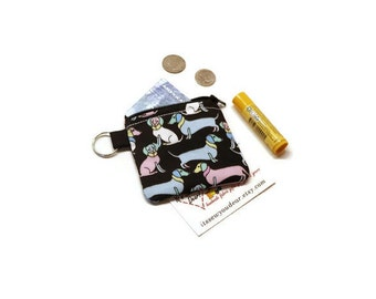 Adorable zippered Dachshund coins cards purse. Doxie pouch. Wiener dog gift idea. Black, pink and blue.