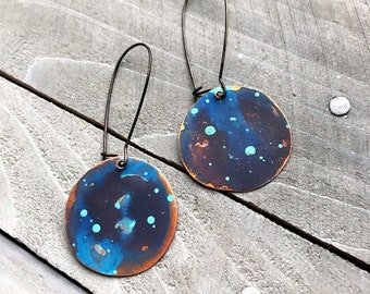 Copper Watercolor Dangle Disc Earrings - hand painted patina round drop artistic jewelry