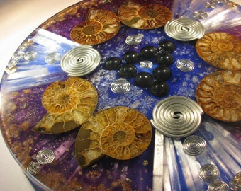 Orgone Ammonite and Hematite Magnet Mandala