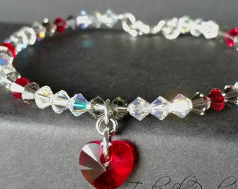 Heart Bangle Bracelet | Dark Red Crystal Bangle | Alternative Bangle Bracelet | Silver Bangle Bracelet | Gifts for Her | Free Shipping