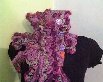 Freeform crochet scarf Crochet scarf Crochet Neckwarmer Freeform crocheted necwarmer  Purple and grey scarf OOAK scarf Be unique scarf