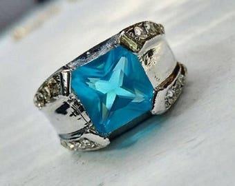 Blue Zircon White Sapphire Silver Ring