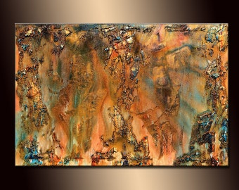Abstract Painting Texture, Original Textured Modern Large Abstract Painting, Part Metallic Thick Texture Canvas Art by Henry Parsinia