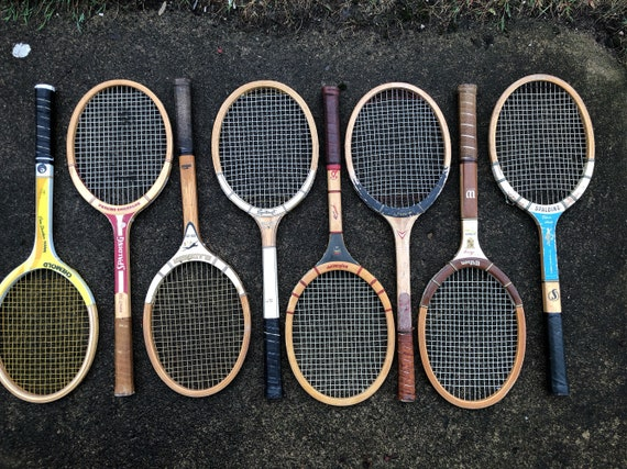 lot of 8 wooden tennis racquets for club or lodge decor