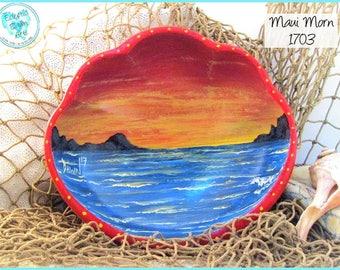 Ocean Sunrise Trinket Bowl, OOAK, Handpainted Wood Bowl, *orange, red, blue* #1703