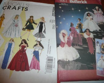 Butterick, McCall's, Simplicity Fashion Doll Sewing Patterns Uncut