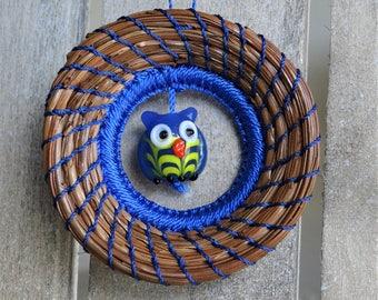 Blue Owl Ornament Pine Needle Ornament Blue Owl Pine Needle Ornament Native American Ornament For Her Ornament For Him Ornament For Teen
