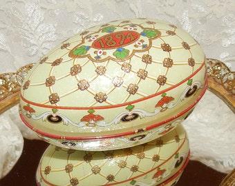 Ornate Tin Egg Box replica inspired by Priceless Original of Carl Faberge, 1894 , Lithographed Tin Egg