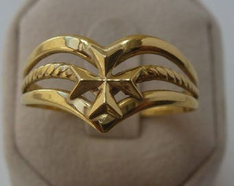 9ct 9k 375 Yellow Gold Maltese Cross wishbone Ring All sizes available