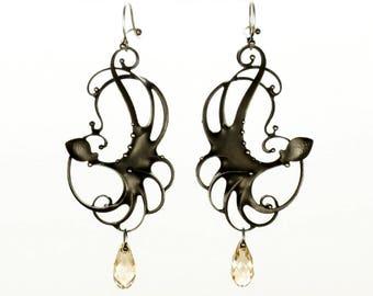 EFBD- Swarovski Octopus Mixed Metal Earrings