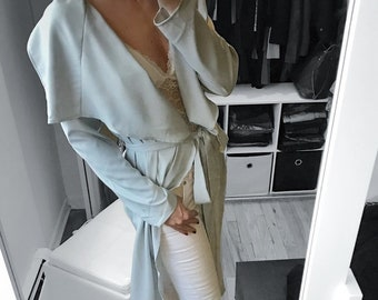 Silver Gray Long Trench Coat Jacket