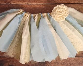 Light Blue, Ivory, and Gold Scrap Fabric Tutu
