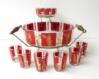 Mid Century Modern Barware - Mid Century Red and Gold Hindu Goddess Pattern - Chip and Dip with Carrier and 6 Shot Glasses - Cocktail Set