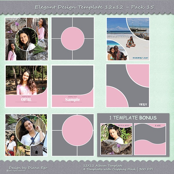 12x12 photo album template pack 4 psd templates photo collage yearbook templates photoshop. Black Bedroom Furniture Sets. Home Design Ideas