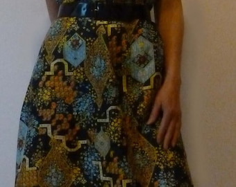 Silk acetate, end of the 1960's summer dress. Size M, 40-42.