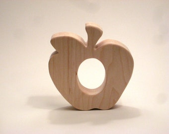 Wooden Teether, Apple Teething Toy, Wooden Apple Teether, Apple Wood Teether, Teething Baby Toy, Teething Toy, Wooden Teething Toy