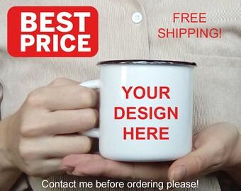 Custom Enamel Mug Logo/Print Enamel Camping Mug Metal Tin Cup Custom Enamelware Custom Enamel Mug Coffee Cup Personalized Enameled Steel Mug