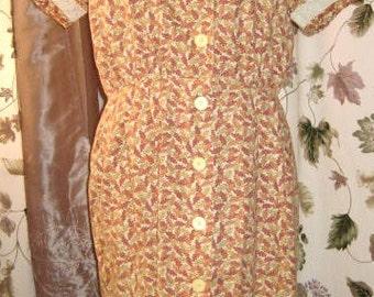 Day Dress Cotton Print Short Sleeve - Plus size Vintage