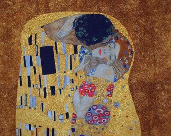 Designer Cotton fabric Gustav Klimt The Kiss - panel 60cm x 110cm