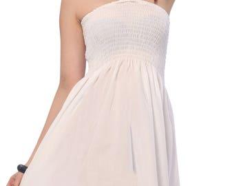 La Leela Solid Color Partywear Halter Backless Stretchty Short Tube Dress Maxi Skirt White-121392