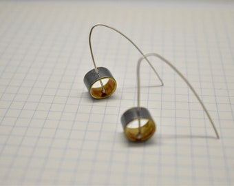 Oxidised sterling silver and brass statement earrings