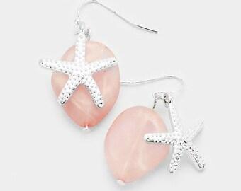 Sea Glass Starfish Dangle Earrings