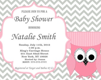 Owl Baby Shower Invitation Girl Baby Shower invitations Printable Pink and Gray Baby Shower Invites FREE Thank You Card Instant Download 554