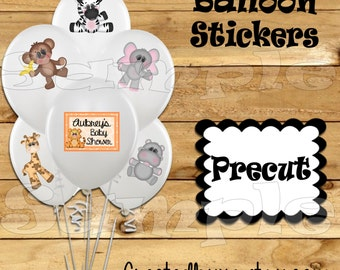 Zoo Balloon Stickers Party animal favors cup stickers goodie bags Tablecloth stickers Jungle baby shower stickers Precut Personalized decor