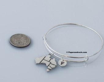 Australia initial bangle- Australia bracelet, Country jewelry, Australia bangle, Australia jewelry