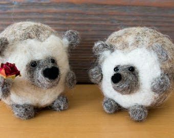 One hedgehog, needle felted to order