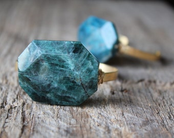 Teal Apatite Stone Wire Wrapped Adjustable Cuff