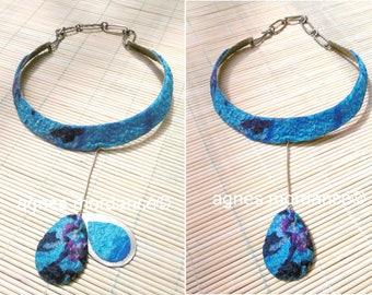 Modernist necklace - felted silk, metal - unique