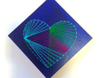 DIY String art - Heart-shaped, Nail art, Home decoration in string art for kids, Nail art wood