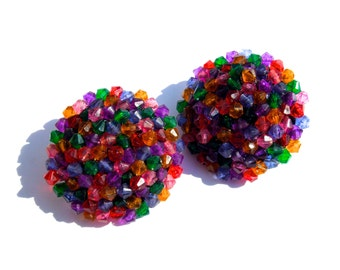 VINTAGE: LARGE Beaded Clip on Earrings - Colorful Acrylic Earrings - (12-A4-00004371)