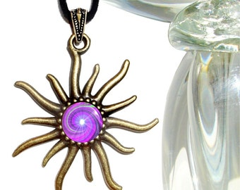 "Crown Chakra Necklace, Sun Pendant, Reiki Attuned ""Intuition"""