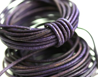 1.5mm Round Leather cord - Vintage Purple - 10 feet, LC123