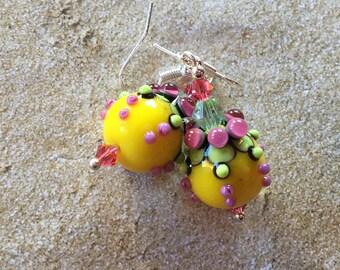 SRA Lampwork Earrings, Black, Purple and Yellow  Pod Earrings, Lampwork Jewelry, Gift For Her