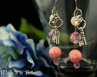 Pink Beads, Silver Key dangle costume earrings