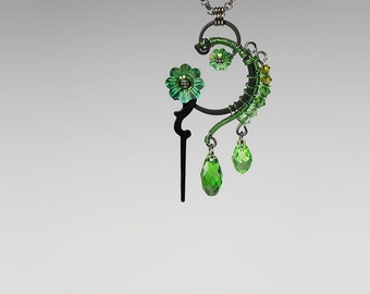 Steampunk Pendant with Green Swarovski Crystals, Vintage Clock Hands, Summer Jewelry, Wedding Jewelry, Wire Wrapped, Dionysus v10