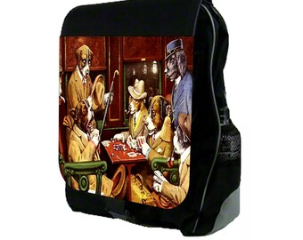 CM Coolidge-Dogs Playing Poker Large Black School Backpack