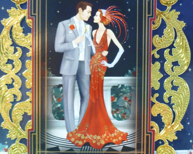 Art Deco Card, Wedding Card, Anniversary Card, Special Day Card, Celebration Card, Greeting Card, Couple Card,
