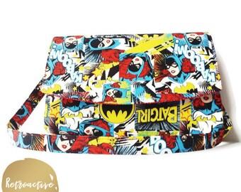 Batgirl Handbag Clutch - Superhero Shoulder Bag - Handmade Batgirl Purse - Batgirl Purse with Removable Strap - Custom Made Shoulder Bag