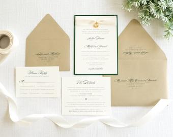 Elegant, Formal Irish Wedding Invitation with Satin Ribbon & Claddagh Embellishment - Celtic, Claddagh Ring, Irish Wedding - Heritage Suite