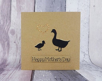 Mother's Day goose card, Mother goose & gosling handmade card for Mum, Happy Mother's Day Geese card, Mothering Sunday card, Birthday Card