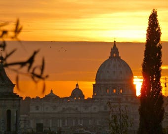 Sunset behind St Peter's Basilica viewed from Rome, Italy. Digital Download. Travel Photo. Renaissance church in the Vatican.
