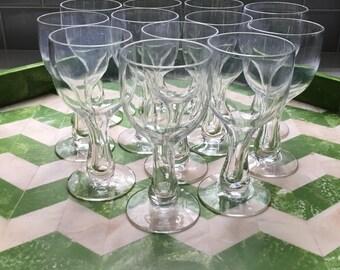 Vintage Hollow Stem Champagne Glasses - set of 12
