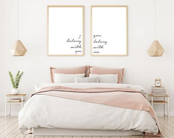 Set Of Two Prints, Love Quote, Printable Love Quote, Bedroom Wall Decor,  Printable Wall Art, I Belong With You, You Belong With Me