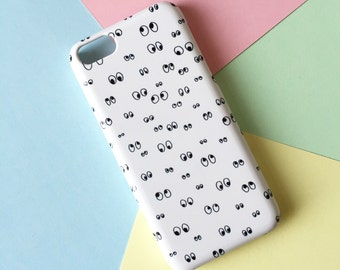 Googly eyes phone case / doodle phone case / iPhone X, iPhone 8, eye iPhone 7, iPhone 7 Plus, iPhone 6, iPhone 5/5S, Se, Samsung Galaxy S7