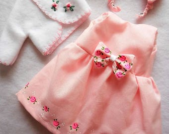 """COLOR CHOICE Handpainted Roses Dress Coat For 14"""" Doll Wellie Wishers 10"""" Ann Estelle P90 8"""" Ginny Betsy McCall Doll Clothes"""